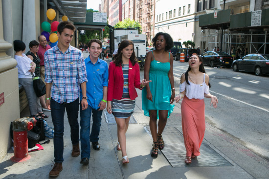 The 2013 Class of National Student Poets (from the left: Nathan Cummings; Louis Lafair; Michaela Coplen; Sojourner Ahebee; Aline Dolinh) enjoy their time in New York City for the 2014 Scholastic Art & Writing Awards National Events.
