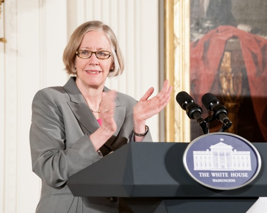 Susan at the White House podium for the 2014 National Medals Ceremony