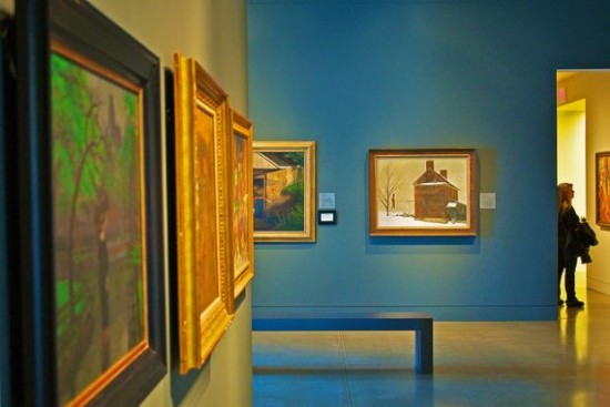 Paintings in the gallery at the Delaware Art Museum