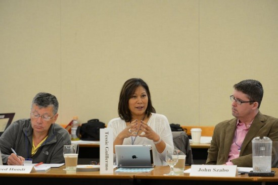 Left to Right: Reed Hundt, Principal REH Advisors, Tessie Guillermo, President and CEO, ZeroDivide, and John Szabo, City Librarian, Los Angeles Public Library.