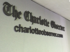 Part of the event involved a tour of the Charlotte Observer which worked to illustrate how extensively integrated the production of print and web news has become.