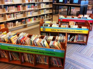 Color-coded books at Hedberg public Library
