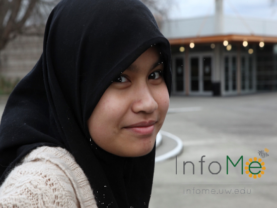 Photo of a girl with the InfoMe logo