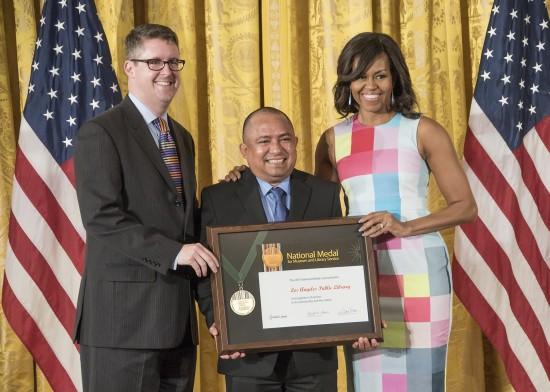 Left to right: John F. Szabo, Sergio Sanchez, Mrs. Obama.
