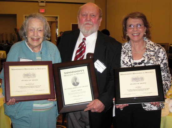 "From left:  Marge Hamill, widow of C.C. ""Tex"" Hamill, Charles L. Sullivan and Cheri Dillard, owner of the Dixie Press at the Mississippi Historical Society meeting on March 6, 2010 in Gulfport.  Sullivan was given the Dunbar Rowland Award and Dillard and Hamill each received Awards of Merit."
