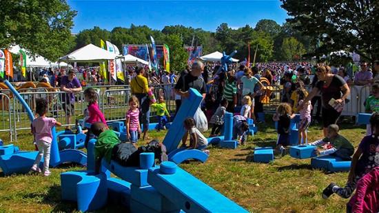 Children playing on Imagination Playground blocks.