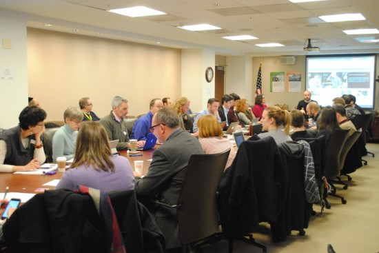 Participants in the IMLS board room during the Open Data Open House
