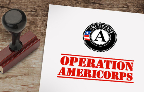 Photo of Operation AmeriCorps document and stamp