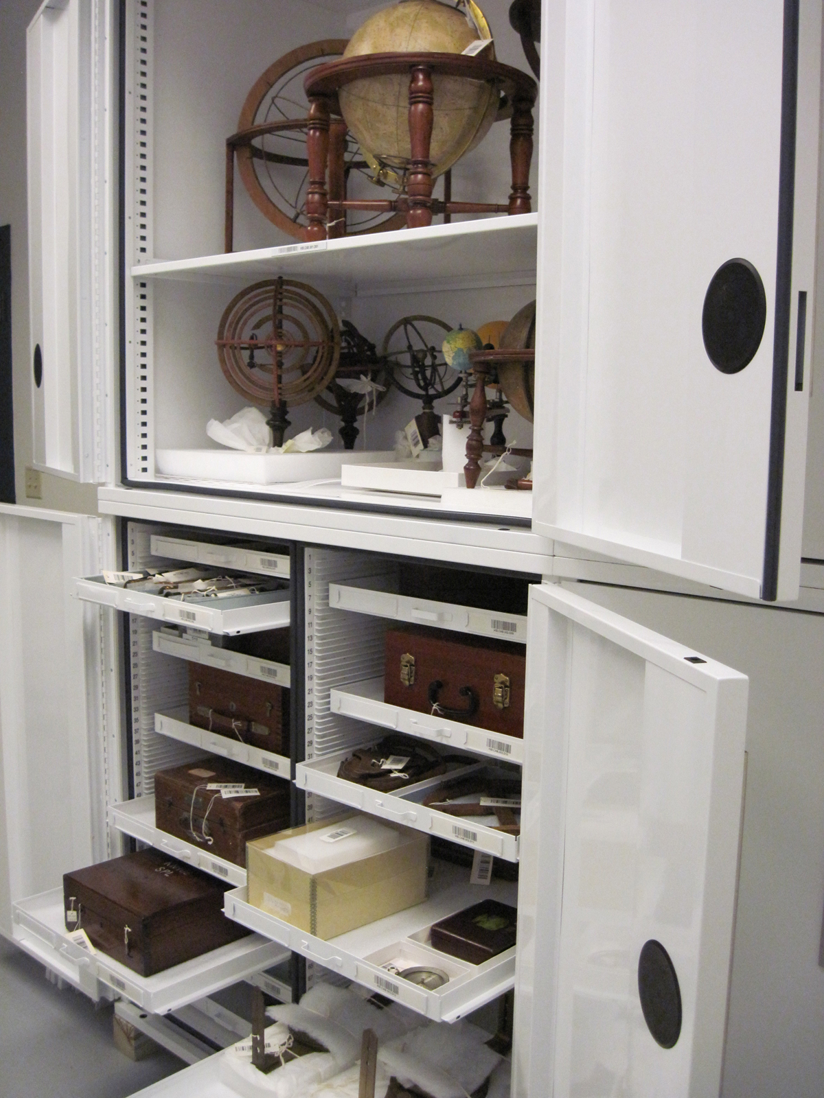 objects in storage at the Peabody Museum