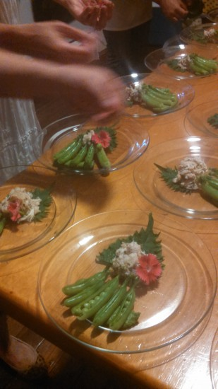 A fresh pea puree anchored sugar snap pods that bared their peas, topped with a shiso leaf with crabmeat and a pink dianthus blossom.
