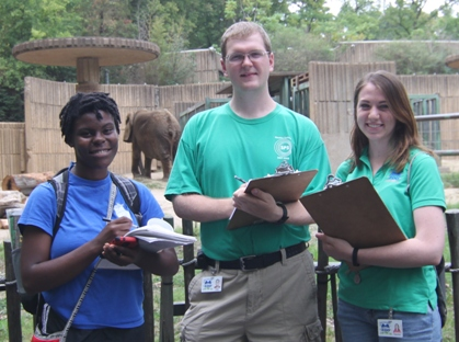 Maggie Blake (right) with fellow research students Jennifer Marshall (left) and Stephen Leavelle (center.)