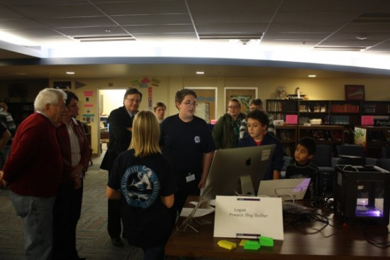 Irving students demonstrated how a 3D printer works facilitating hands-on experiences for the audience.