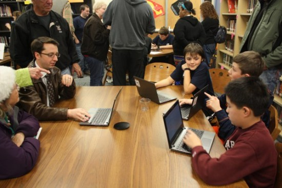 Aaron, Callahan, and Shen coded a website featuring the different projects by their peers in the Makers' Club, as well as a forecast website for their school using data from the Oklahoma Mesonet.  The boys also taught coding to other students at Irving for the Hour of Code event.