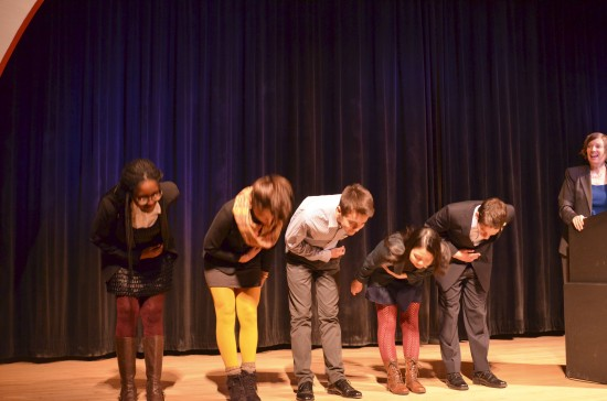 The national Student Poets take a bow on stage at the Academy of American Poets' Poets Forum