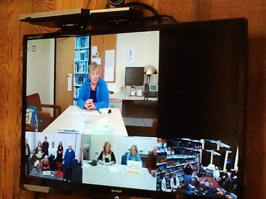 Videoconferencing in the Craig, Alaska, library with libraries in Anchorage, Juneau and Kenai