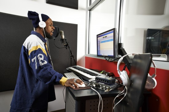 Recording studio in use at the Cuyahoga County Public Library