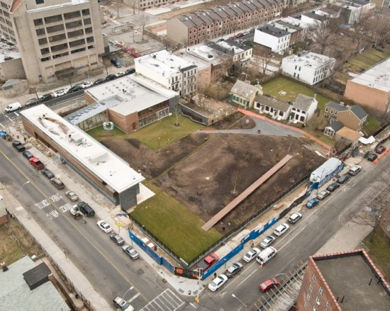 An aerial view of the new site.