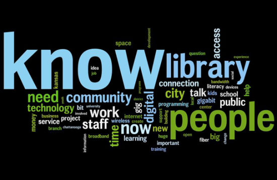 This word cloud was created from the February 2014 interview transcripts with library leadership at Cuyahoga County Public Library, Chattanooga Public Library and Kansas City Public Library.