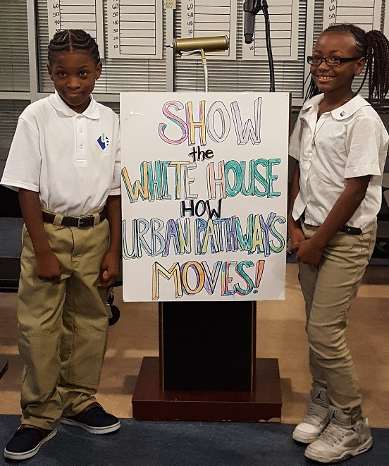 Urban Pathways K-5 College Charter School hosted a pep rally for students Bruce and Lemiah to send them off to the White House