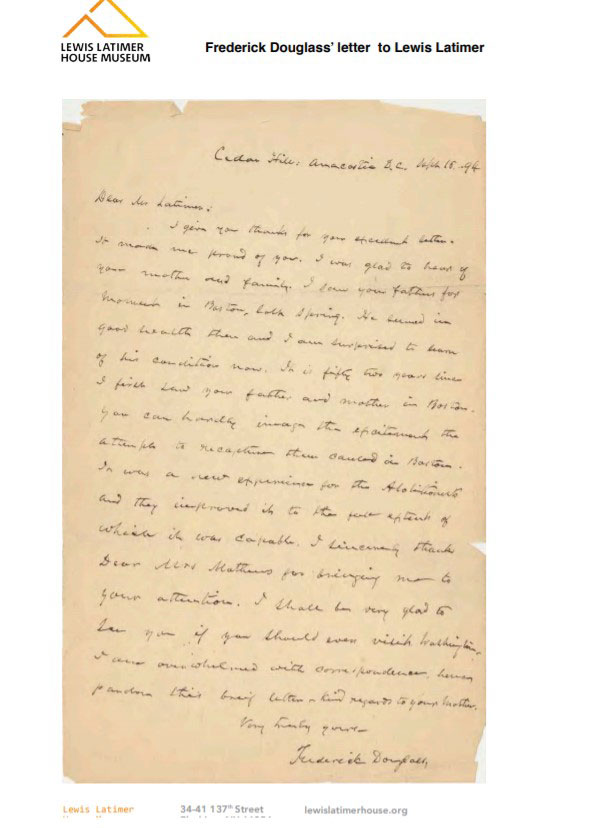 Frederick Douglass' Letter to Lewis Latimer