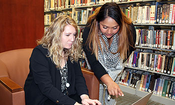 Social work interns Simone Moonsamy and Lydia Hawkins