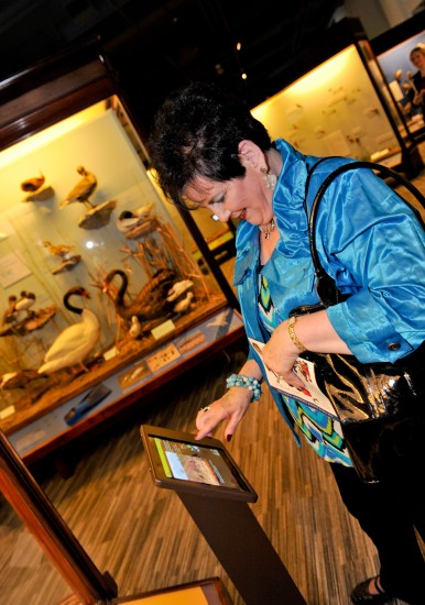 A woman in a museum using an iPad