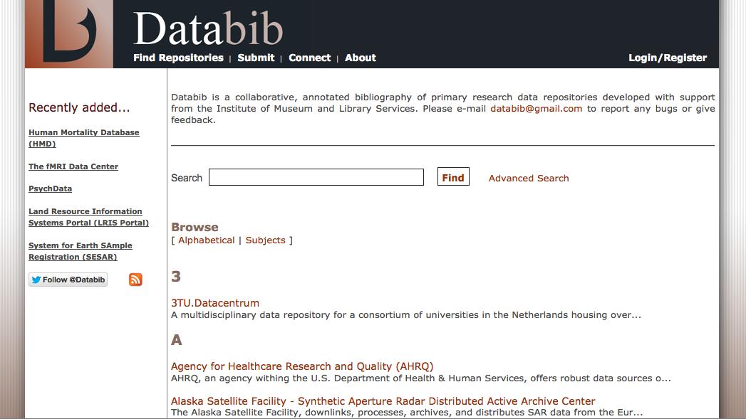 Screenshot of Databib Website