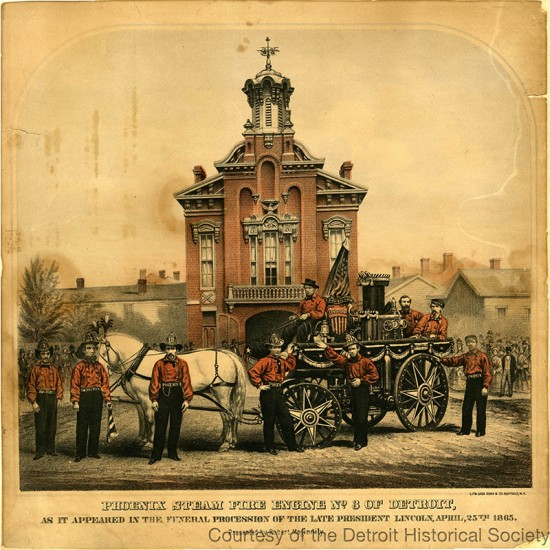 Photograph of the Phoenix Steam Fire Engine No. # in 1885.