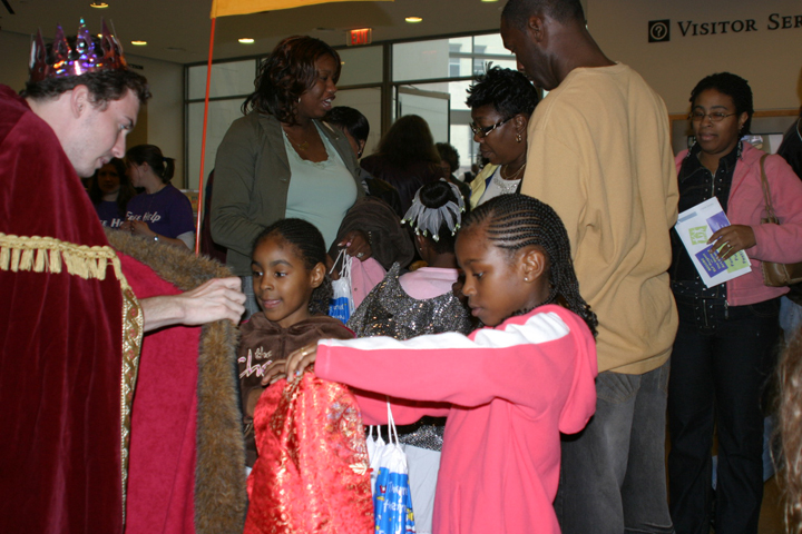 Families participate in one of the free weekends at the Walters Art Museum.