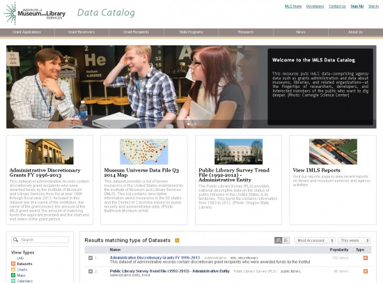 Homepage of data.imls.gov