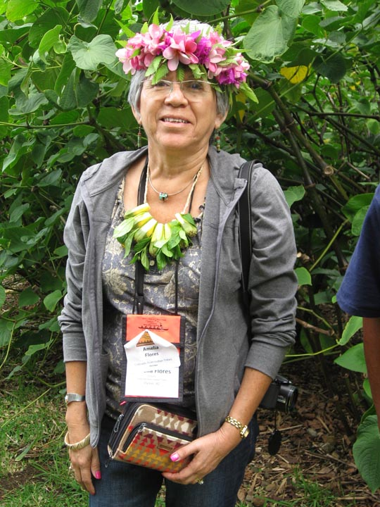 Amelia Flores, Library Director, Colorado River Indian Tribes, with the leis she created