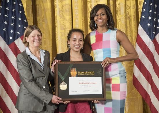Left to right: Margaret Honey, Maria Cortes Ruiz, Mrs. Obama.