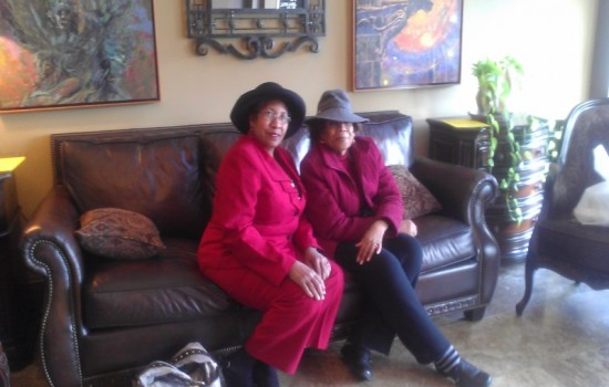 Listening session with community elder Eleanor Quadirah, Founder of the Rowan County Music and Jazz Festival, pictured with Beverly Burnette, NC Black Storytellers Association president.