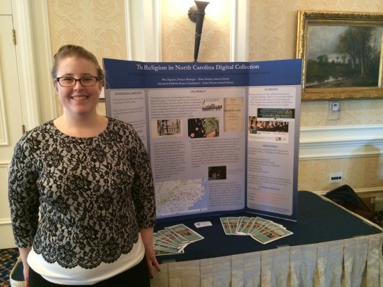 Project Coordinator Elizabeth DeBold with the Religion in NC poster display at the 2014 Duke University TechExpo.