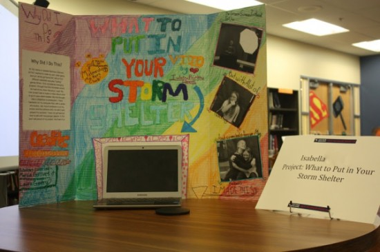 Bella created a YouTube tutorial video addressing items to be stored in a storm shelter. She initiated this project after identifying a dearth of comprehensive videos on the topic.