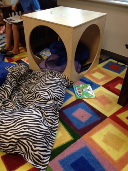 A quiet place in the library for children to read.