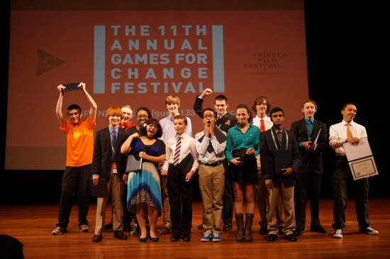 Winners of the 2013 National STEM Video Game Challenge accept their award.