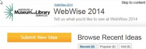 Screen capture of the WebWise Idea Scale website.