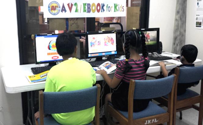 children in a computer lab