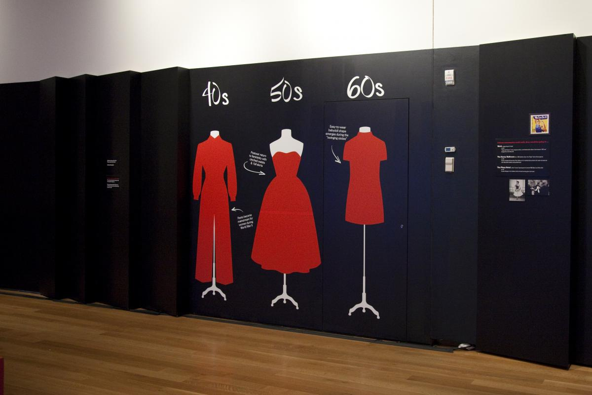 Dressing Room wall graphic illustrating change in silhouette over three decades.