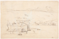 Houses in Landscape with the Pilon du Roi, undated. Graphite on laid paper