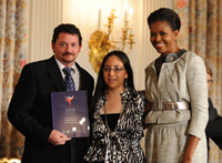 Willcox TAG Team (from left) Gary Clement and  Mayra Guzman (youth), and  First Lady Michelle Obama