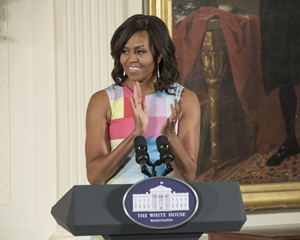 Mrs. Obama deliveres remarks at the ceremony.