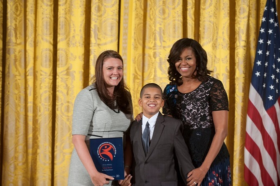 First Lady Michelle Obama presents 2016 NAHYP Award to student and New York Transit Museum director