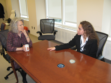 Kathryn Matthew (left), IMLS Director, shares her experience about Museums with Josie Brown (right), IMLS intern.