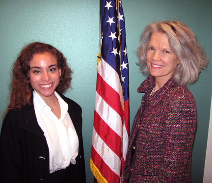 Kathryn Matthew (right), IMLS Director, poses with Josie Brown (left), IMLS intern