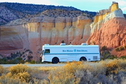 Northeast Bookmobile in scenic landscape