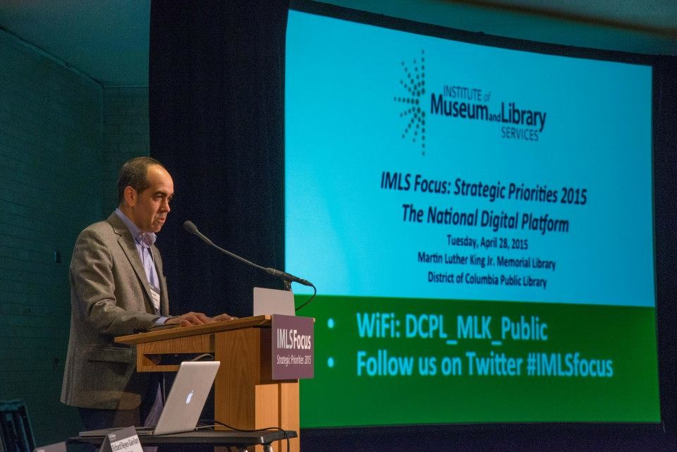 The recent grants are only the latest efforts by IMLS to highlight the importance of the National Digital Platform. The agency last year IMLS held a convening on The National Digital Platform. Here, DC Public Library Executive Director Richard Reyes-Gavilan welcomes participants.