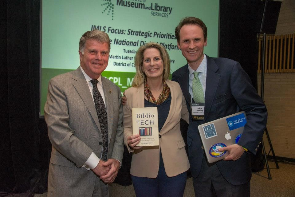 (Pictured: Maura Marx, Deputy Director of the Office of Library Services, David Ferriero, the Archivist of the United States and John Palfrey, Digital Public Library of America Board of Directors at last year's NDP meeting. Two convenings on the topic of the National Digital Platform have been held as part of the IMLS Focus series. The first was April 29, 2014 at New York Public Library; the second was April 28, 2015 at the DC Public Library's Martin Luther King Jr. Memorial Library. Meeting agendas, session recordings, and other materials are available on the IMLS website.)