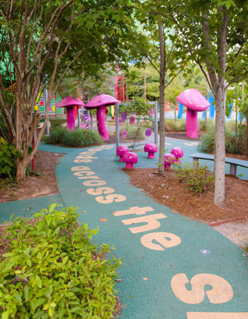The Literacy Garden's winding path